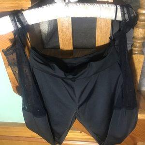 Pants - Black Stirrup Mesh Polka Dot Leggings XS